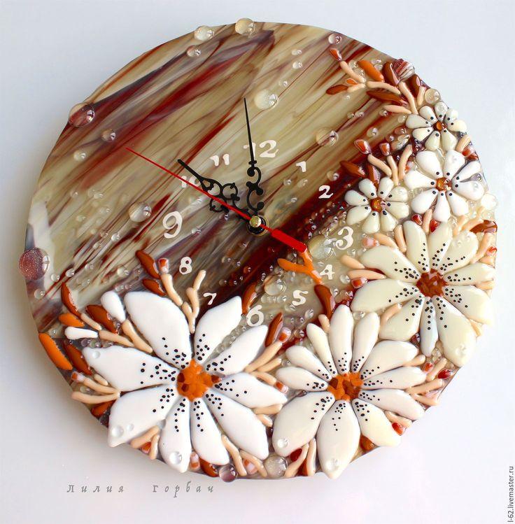 Купить часы из стекла, фьюзинг Веточка с цветами - коричневый, Фьюзинг, стекло, часы, часы настенные