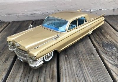 Vintage Bandai Japan Huge 17 Tin Friction 1961 Cadillac Toy Car