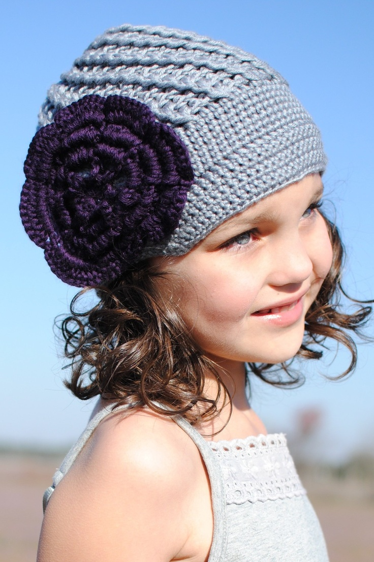 818 best crochet hat inspiration images on pinterest knitting grey crocheted hat with purple flower beanie hat winter hat adult hat bankloansurffo Choice Image