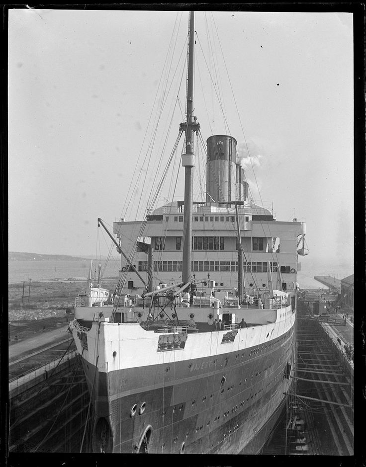 The extraordinary quality of the New England sunlight characterises this image of the White Star Line's Majestic in Boston dry dock. Broadly dated the 1920s. Image courtesy Johan Holm.