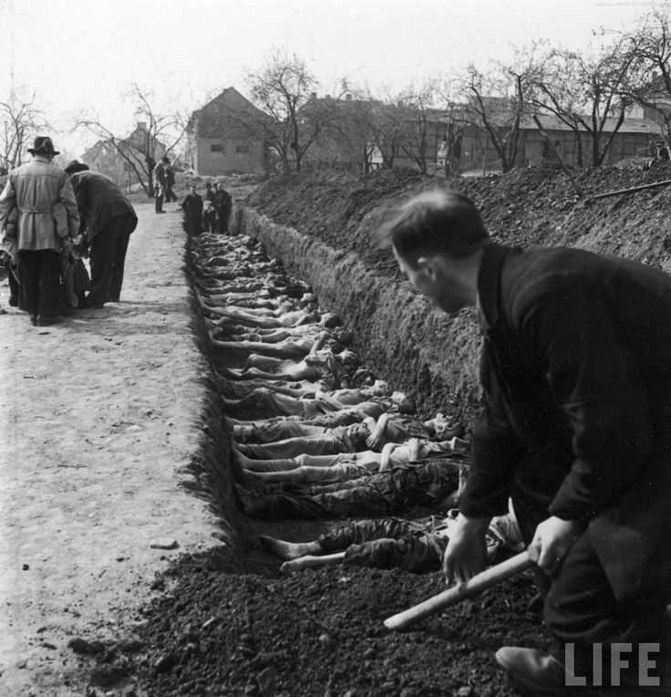 German civilians  being forced by the Allies to bury prisoners  killed at the Nordhausen concentration camp.  Location: Nordhausen, Germany   Date taken: April 1945