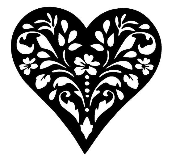 6/6 Vintage heart design stencil template 2 size by LoveStencil