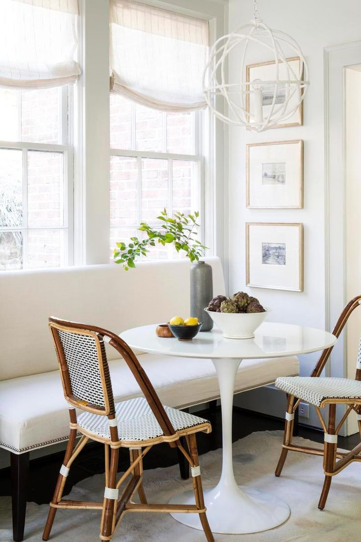 Dining banquette with bistro chairs and tulip table on Thou Swell @thouswellblog