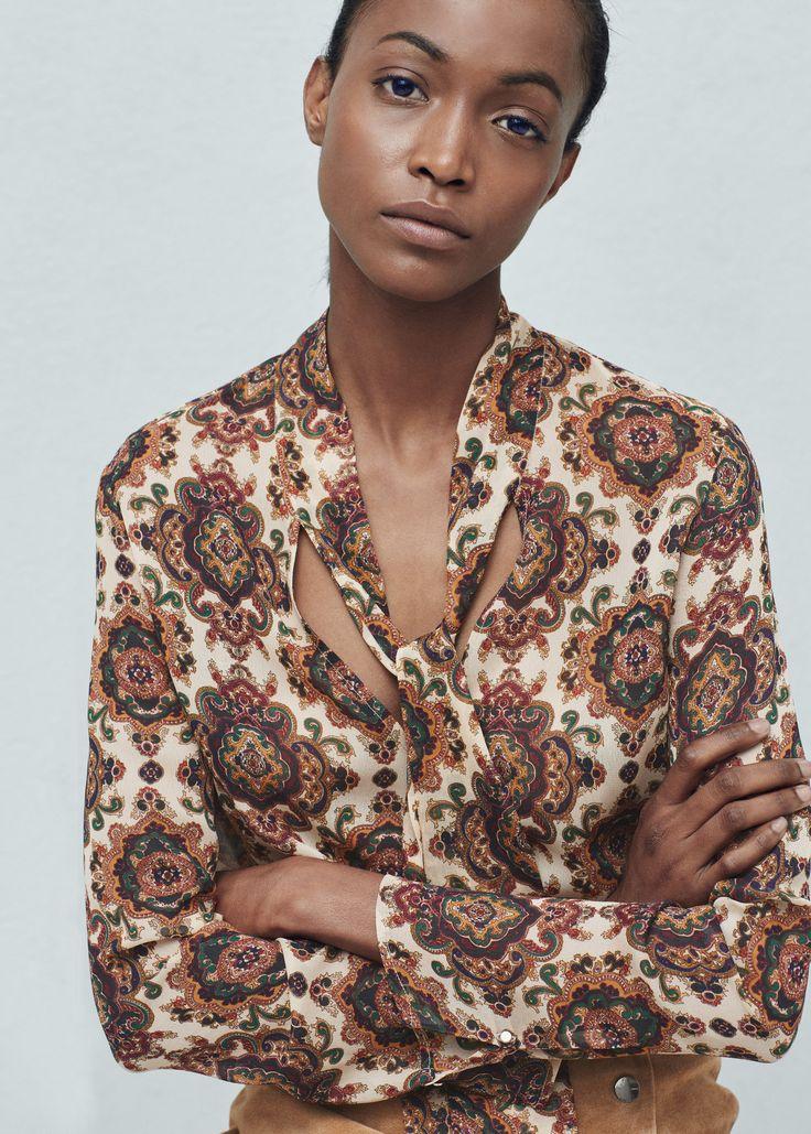 Bluse med knytehals - Skjorter for Damer | MANGO Norge