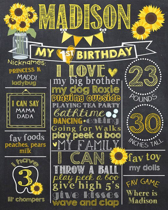 Sunflower First Birthday Chalkboard Poster by PrincessSnap