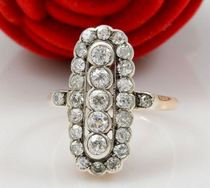 Online veilinghuis Catawiki: Grote antieke 18ct rood en witgouden ring met schitterende diamanten. Handwerk.