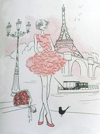 A la recherche d'une carte d'anniversaire, j'ai trouvé, par hasard, une belle carte à la Chaise Longue. Cette carte représentait une jolie jeune fille sur fond de Tour Eiffel...