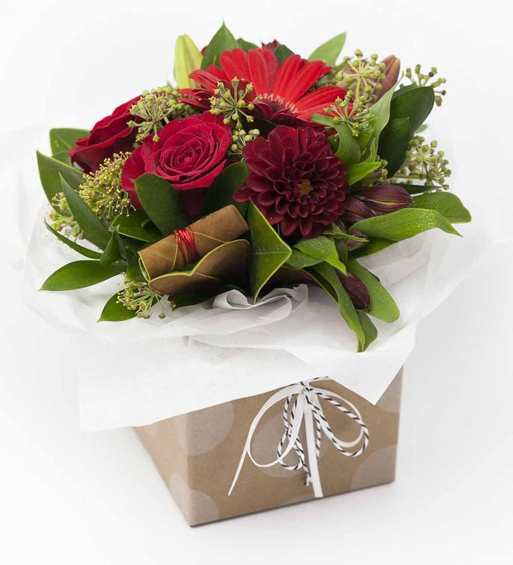 Stunning Posy Box Red http://www.expressionsfloral.co.nz/ #florist #flowers #bouquets