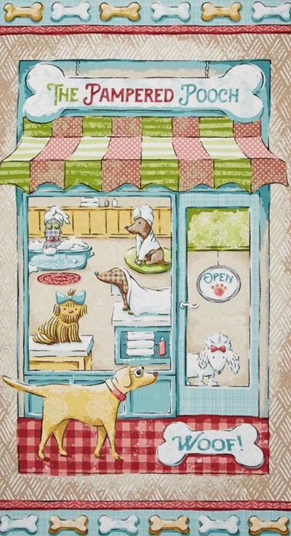 The pampered pooch fabric panel, day spa, quilt panel