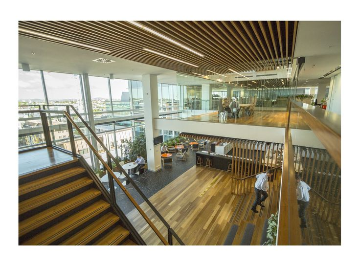 Photo by David Hyde // The timber featured in AECOM's workspace is one hundred percent post consumer recycled Australian black butt that came from a disused Australian Sugar Mill #boh2014 #unlockbrisbane #brisbane #discoverbrisbane
