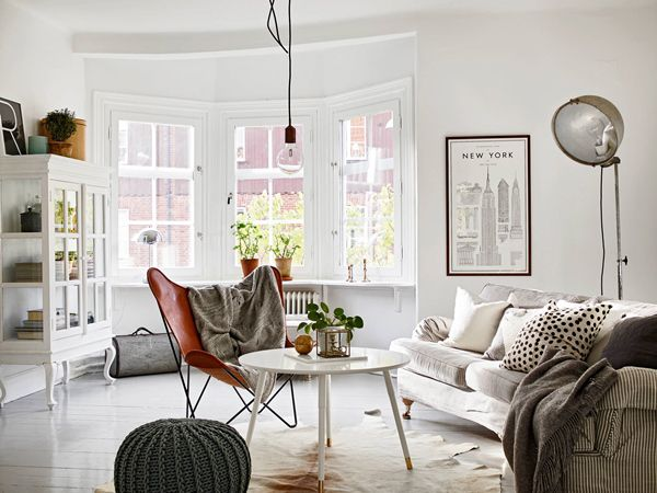 Old furniture painted white with modern furniture