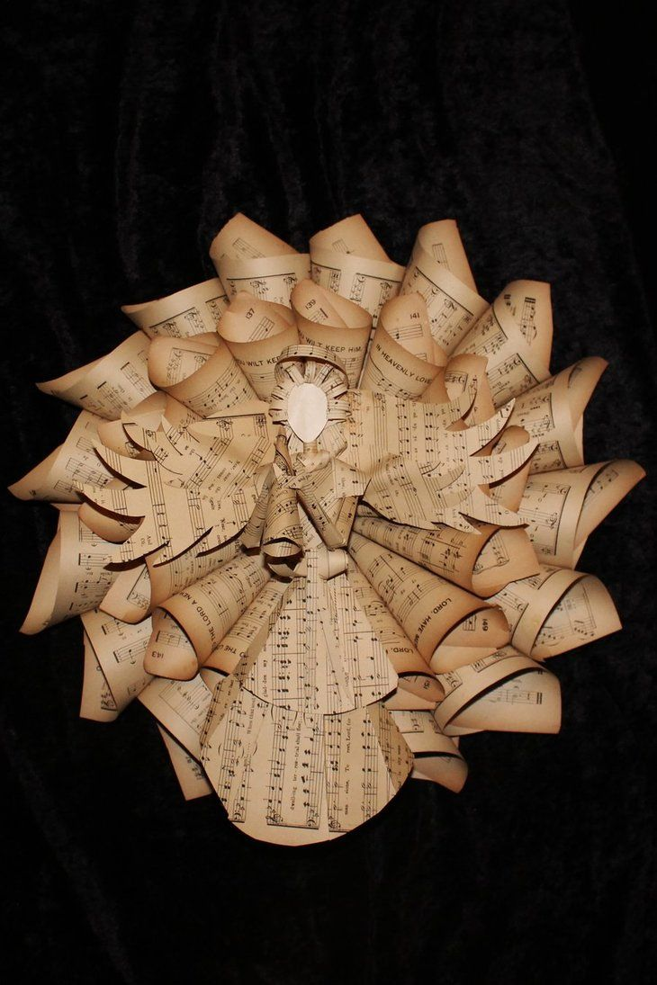 This listing is for the angel wreath only. This wreath is about 17 inches round. It is made from the pages of a hymnal from the 1800's. The angel in the center of the wreath is also made from the hymnal. No tutorial. This is an idea for a future project.