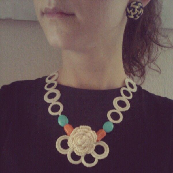 Collana a uncinetto handmade crochet ilerobybijoux