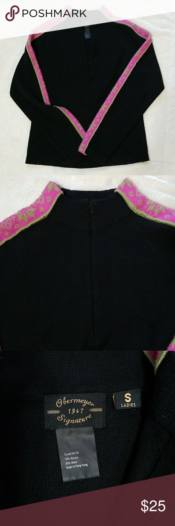 "Obermeyer Black & Pink Zip Ski Sweater Small Obermeyer Ski sweater for ladies.  Black with pink stripe on arm with winter design. 1/4 zip pullover style.  Has stretch!  Acrylic and wool blend. Good condition. No holes or tears.  Flat measurements:  Armpit to Armpit 17"" Length (top of shoulder to bottom hem) 22"" Approx sleeve length 24"" Obermeyer Sweaters"