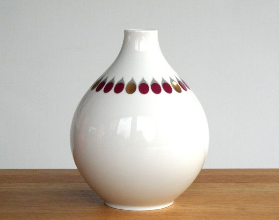 Porcelain vase hand cut Heinrich Porzellan Bavaria west german white gold aubergine purple ceramic tear drops mid century modern vintage