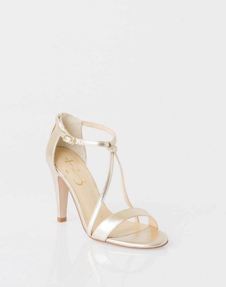 Sandales dorées en cuir Ines 1 1.2.3