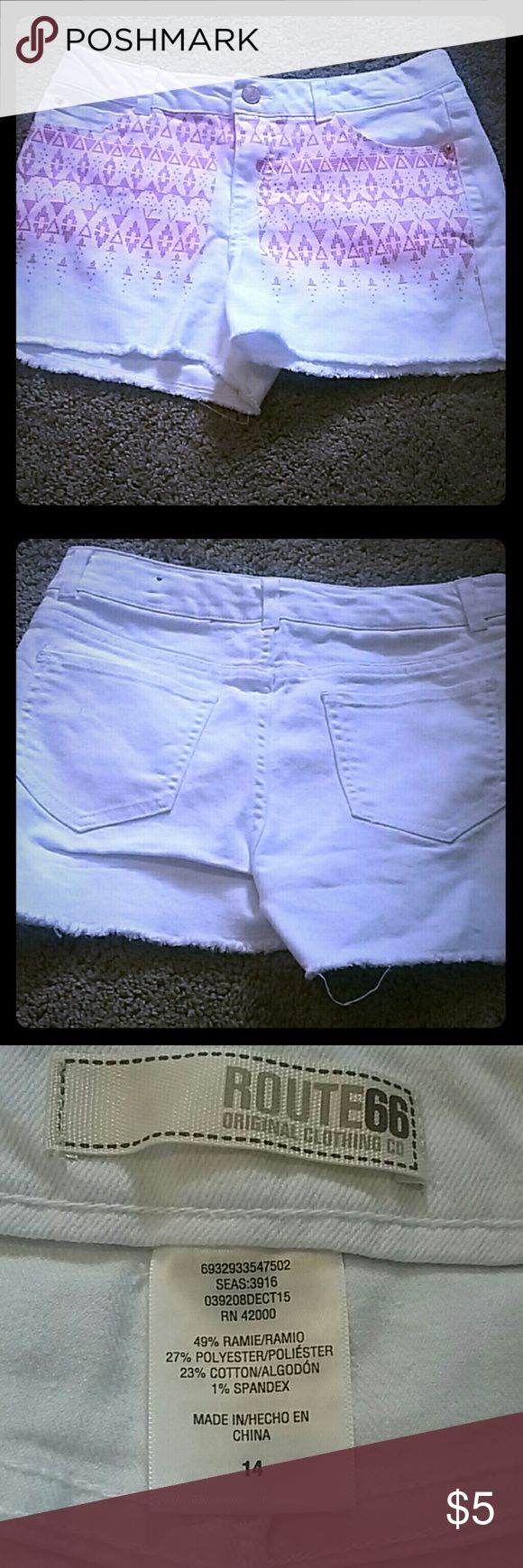 Girls Aztec Print Shorts Worn Once!! White shorts with pink aztec print design. Bronze embellishments Route 66 Bottoms Shorts