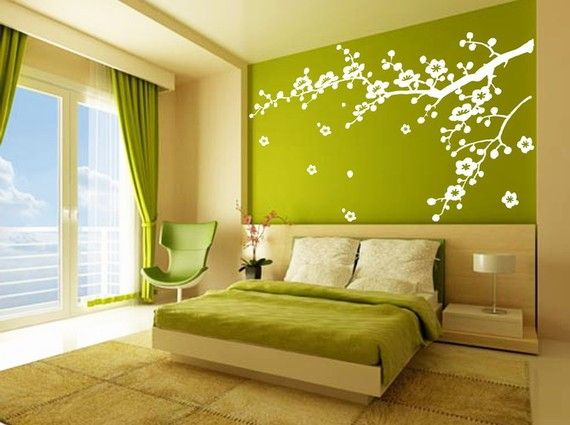 removable vinyl wall sticker decal art - cherry blossom. $48. I also really dig the wall color here!