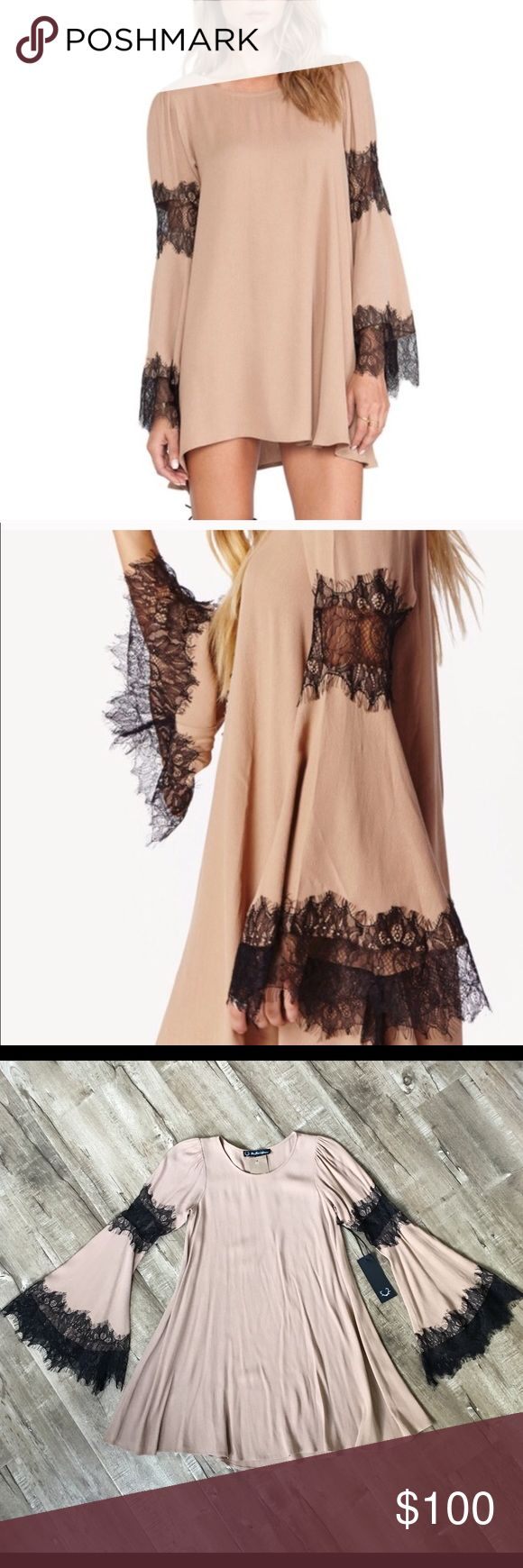 For Love and Lemons Festival Lace Sleeve Dress NWT Beautiful, never been worn NWT, nude and black festival style bell sleeve tent mini dress. Wide neck, long sleeve with mid arm lace inset and scalloped lace at the cuffs. Unlined. Smoke free seller.  No trades please. XS. For Love and Lemons Dresses Mini