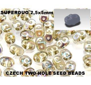 20gr Czech Two-Hole Seed Beads SuperDuo 2.5x5mm Smoke Topaz AB