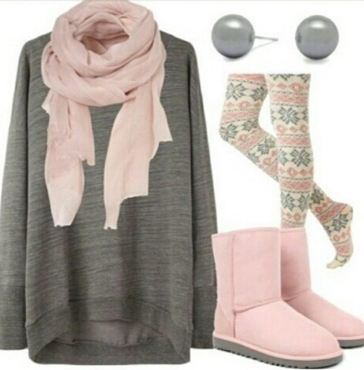 Cute color scheme; love the baby pink uggs!