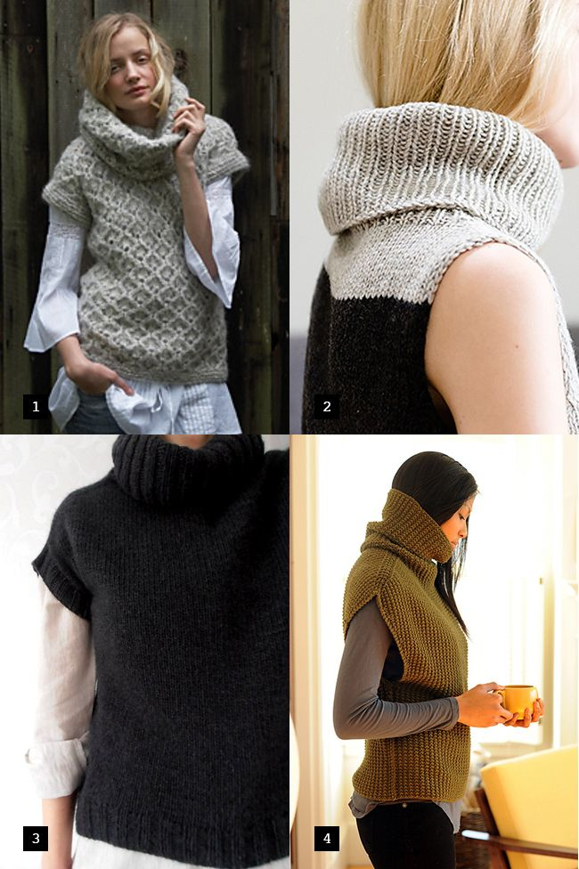 New Favorites: Sleevelessturtlenecks // i'd like to knit and wear all four of these
