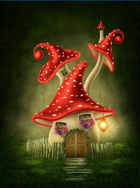 Fantasy Mushroom House by Elena Schweitzer