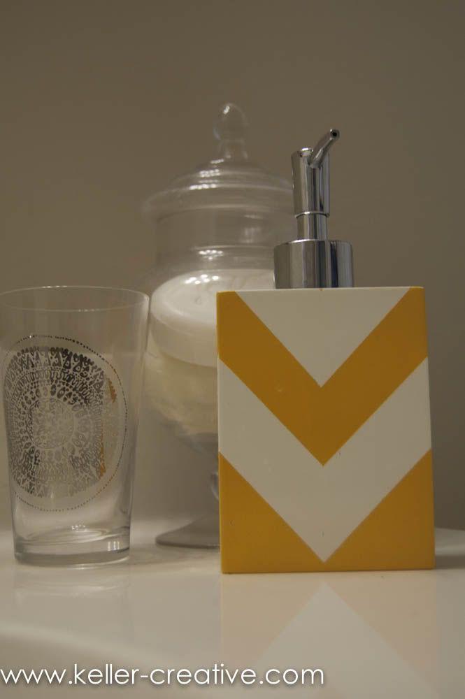 diy painted soap dispenser would probably do stripes. Black Bedroom Furniture Sets. Home Design Ideas