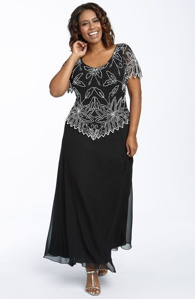 Free shipping and returns on J Kara Beaded Mock Two Piece Chiffon Gown (Plus) at Nordstrom.com. Beaded flowers grace the bodice of an elegant chiffon gown with the look of two pieces and the ease of one. Petal-shaped edging highlights the flutter sleeves and contoured waist.
