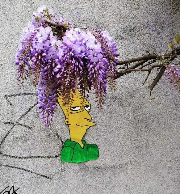 OakOak, Sideshow Bob in Saint Etienne, FR http://weburbanist.com/2015/05/04/urban-art-interacts-with-nature/