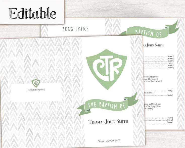 Instant Download, Editable LDS Baptism Program LDS Printable Digital, Songs Handout Boy Baptism, CTR, Grey Green  Watercolor, by Recathi on Etsy