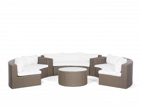 Sofa Set Hellbraun - Polyrattan Gartenmöbel - Lounge rund - Sofagarnitur + Tisch - SEVERO_678764