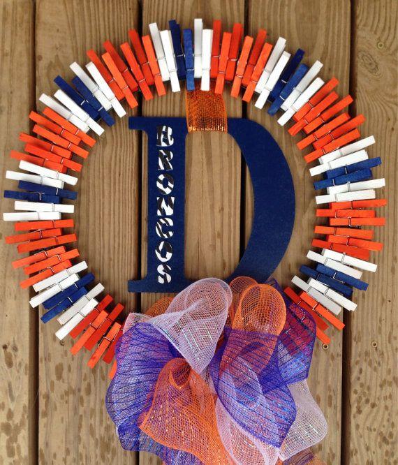 Denver Broncos clothespin wreath on Etsy, $35.00