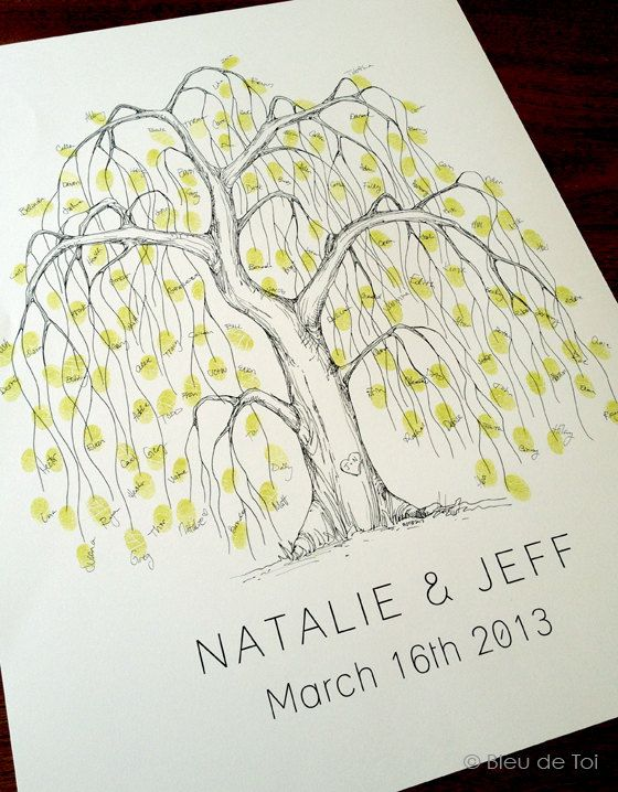 Medium Willow Tree Design, The original hand-drawn wedding guest book fingerprint tree (ink pads sold separately)