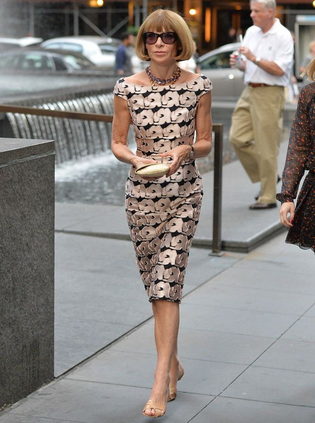 Anna Wintour in a Dior dress in New York City