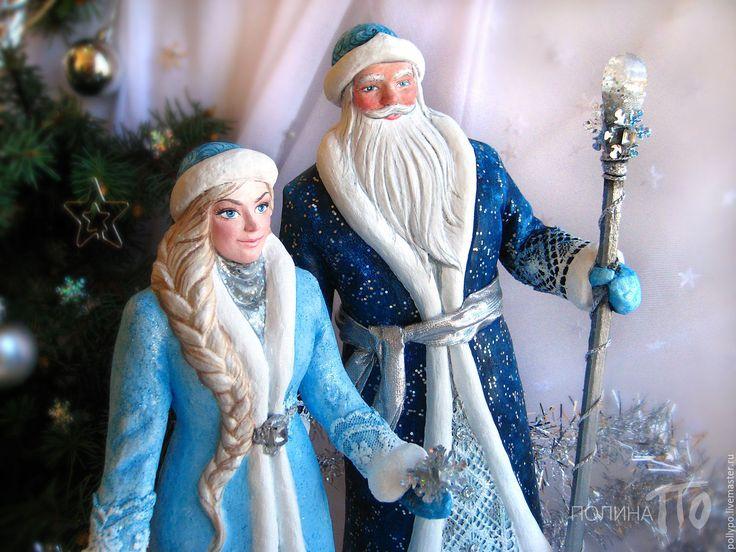 Купить Дед Мороз и Снегурочка, куклы под елку (новый год, новогодний подарок) - синий, голубой