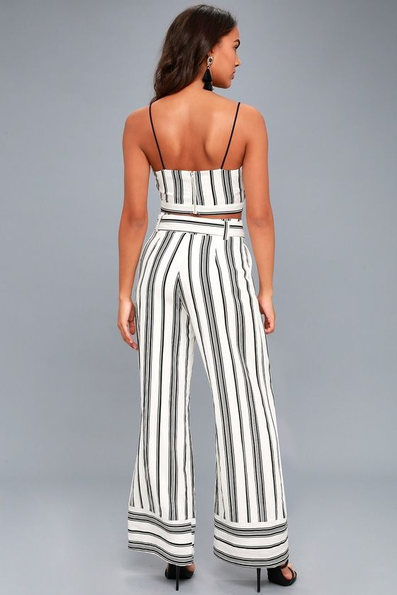1fffefe1cd4a Elspeth Black and White Striped Two-Piece Jumpsuit - 2019 | styles