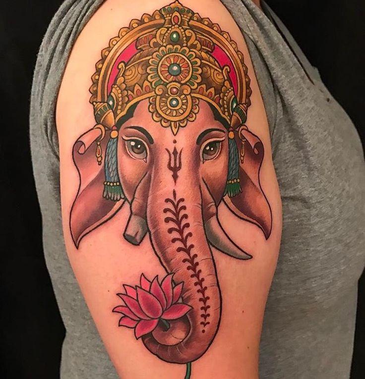 Ganesh tattoo by Kim Saigh at Memoir Tattoo