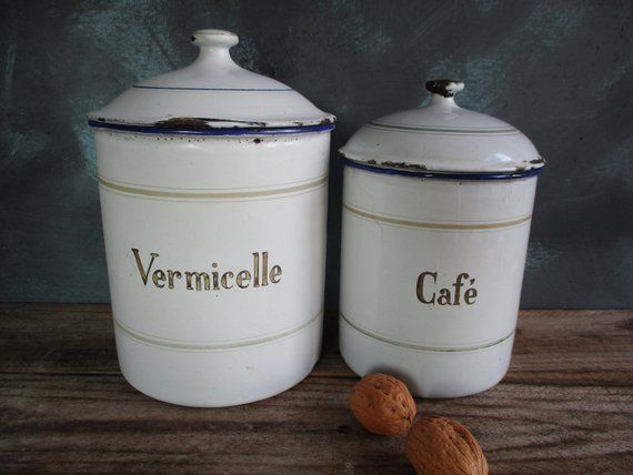 Enamel Kitchen Canisters Pair Of French Vintage Enamelware