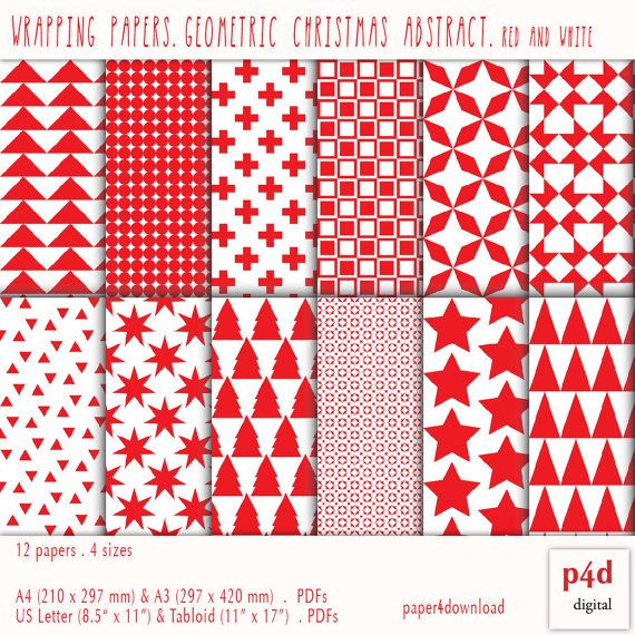 Christmas Wrapping Paper  12 patterns  Red by paper4download