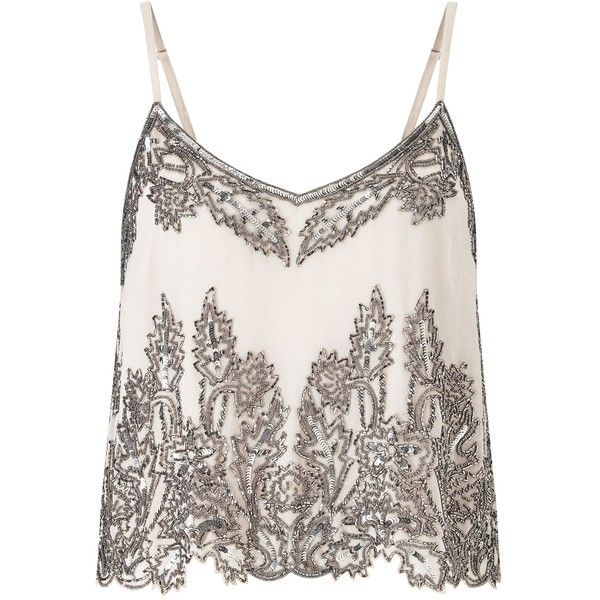 Miss Selfridge Embellished Cropped Cami Top ($63) ❤ liked on Polyvore featuring tops, shirts, tank tops, blusas, tanks, cream, women, white tank top, white singlet and embellished crop top