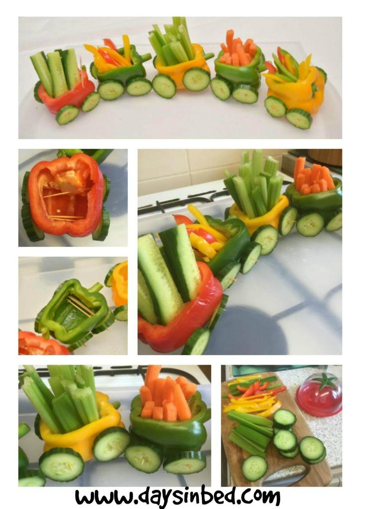 Cute vegetable train - great for kids parties!