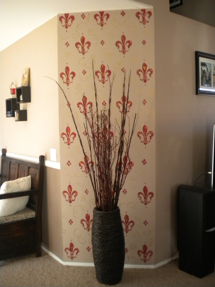 Hand Painted This Accent Wall In Our Living Room Using A Fleur De