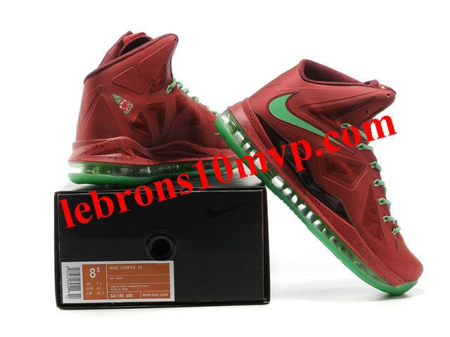 new nike zoom lebron 10(x) christmas shoes red green