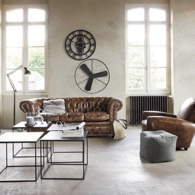 loft, gear wall clock, Chesterfield sofa