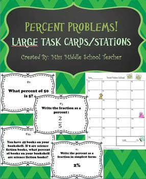 "Percent Problems Task Cards: I post the 26 task cards around the classroom and send 1-2 students to each sign. I then give students 1:30-2:00 to solve the problem on the task card. They record their answer on the ""Percent Problems Challenge!"" recording page. Students then move on to the next task card in the classroom. This set could also be used for individual learning centers and more!"