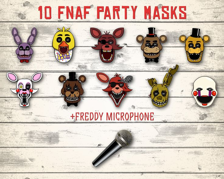Instant download FNAF masks! 10 different masks + Freddys microphone!  You will get high resoliton PDF file 300 dpi.  Each mask fit on 8.5x11 paper.   ========== HOW TO PURCHASE ==========  1) Click on green button Add to cart  2) Continue purchasing  3) You will get your files via Etsy link after purchasing!   ========== ADDITIONAL INFORMATION ...