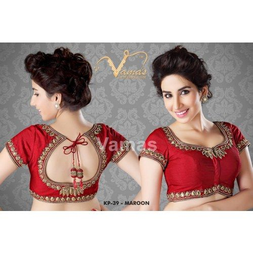 Intricate gold zari saree blouse  - Kp 39r - red. Muhenera presents vamas designer collection