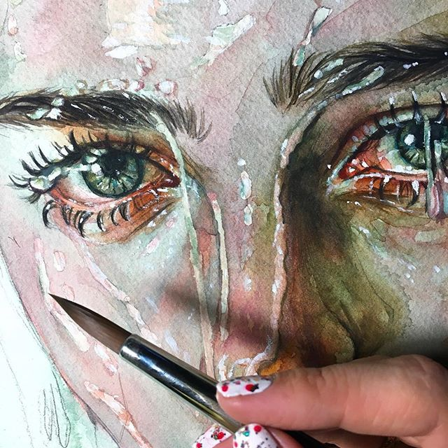 Madness But Deep Wip Watercolor Painting Art Eyes Sketch