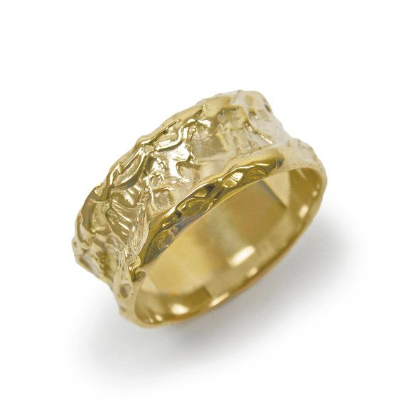 Raw wedding ring. Wide wedding band. Gold wedding by KaiJewelry585